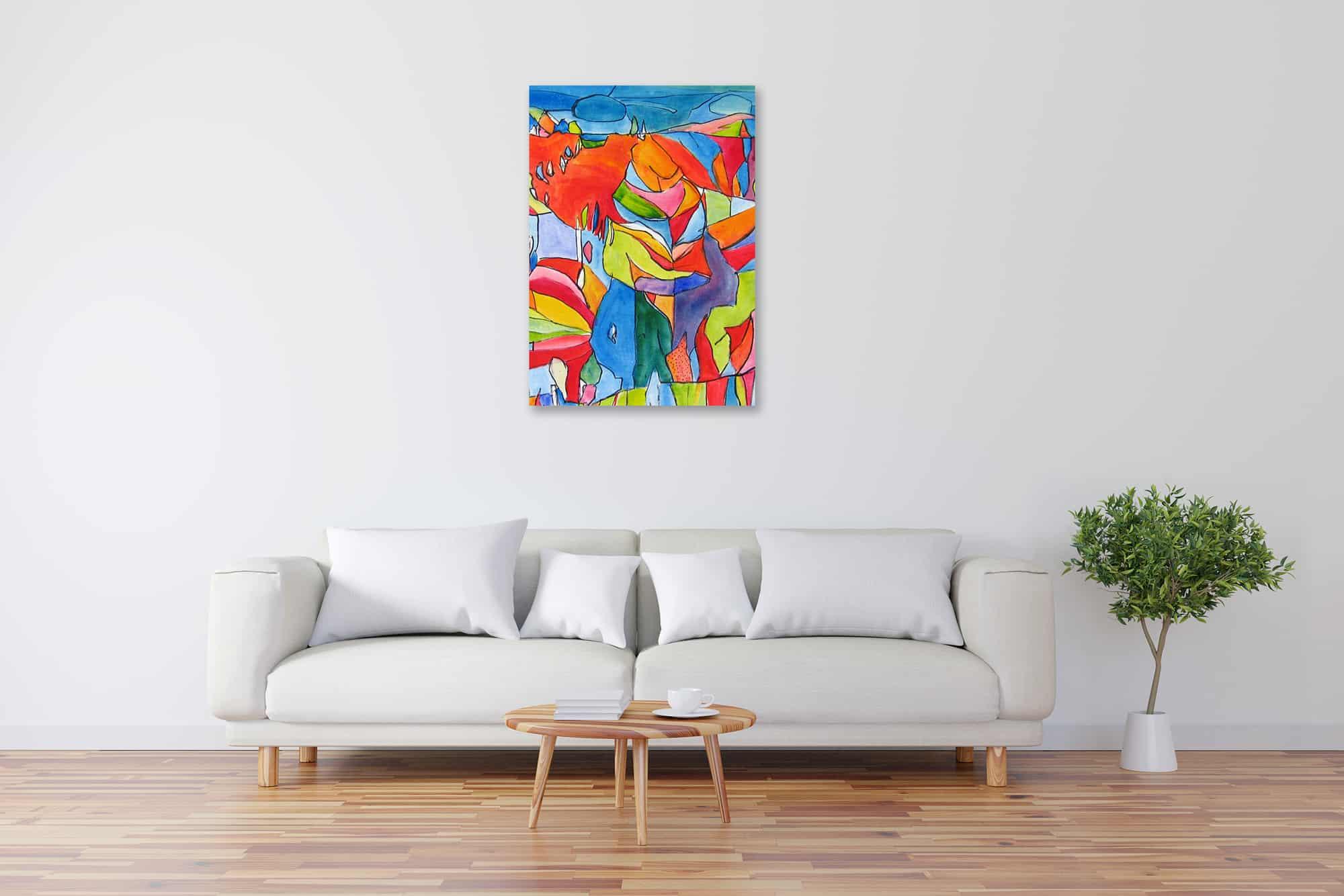 Acryl Gemälde abstrakter bunter Baum bild kaufen