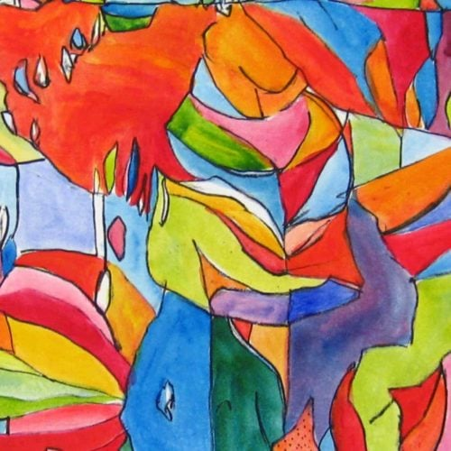 Acryl Gemälde abstrakter bunter Baum