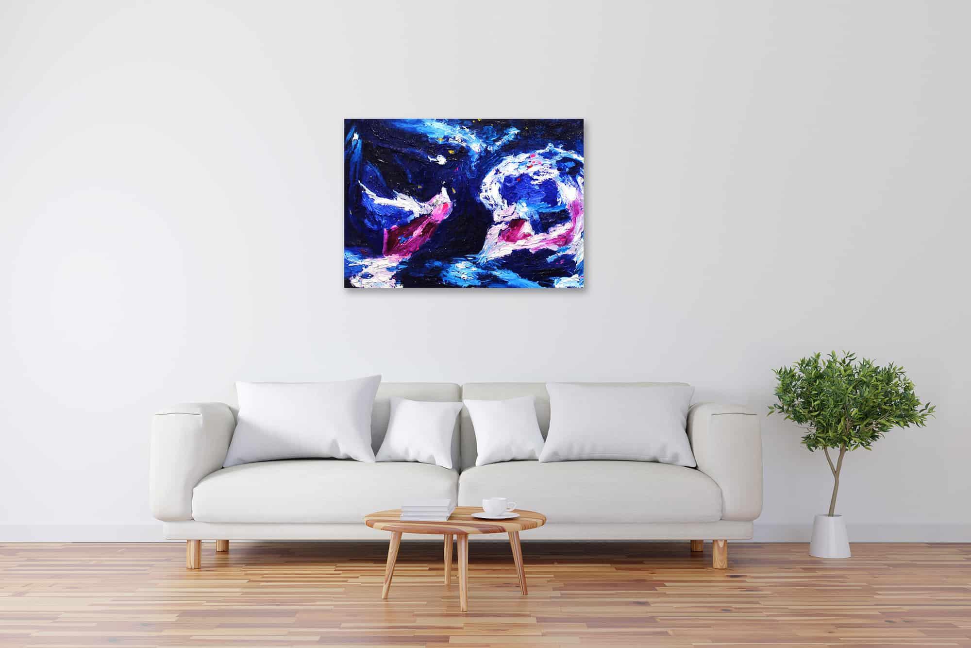 Acryl Gemälde abstrakter Engel mit tiefem Blau bild kaufen