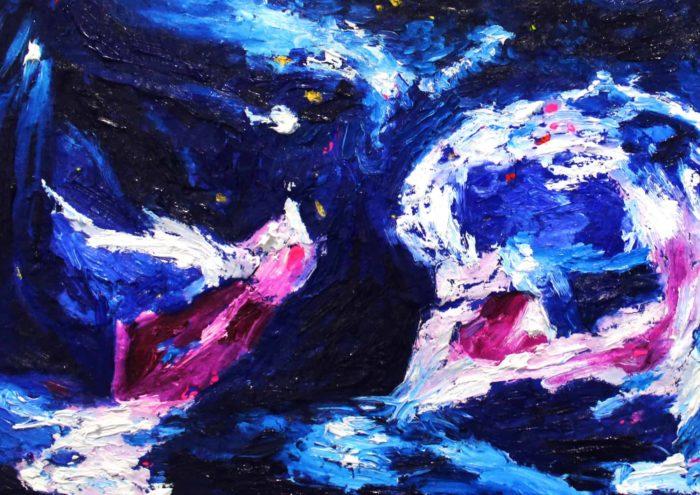 Acryl Gemälde abstrakter Engel mit tiefem Blau