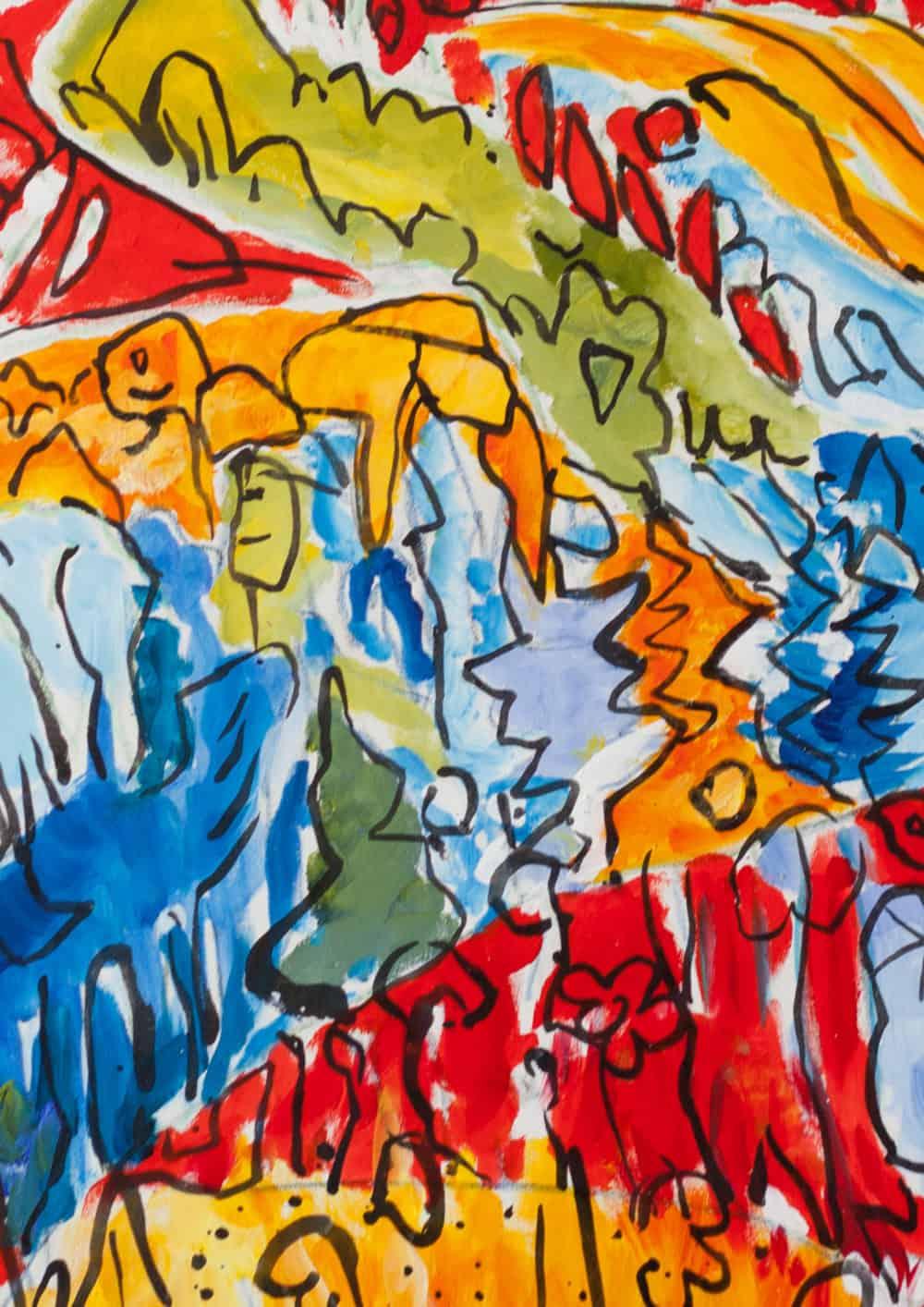 Acryl Gemälde abstrakter expressiver Wald
