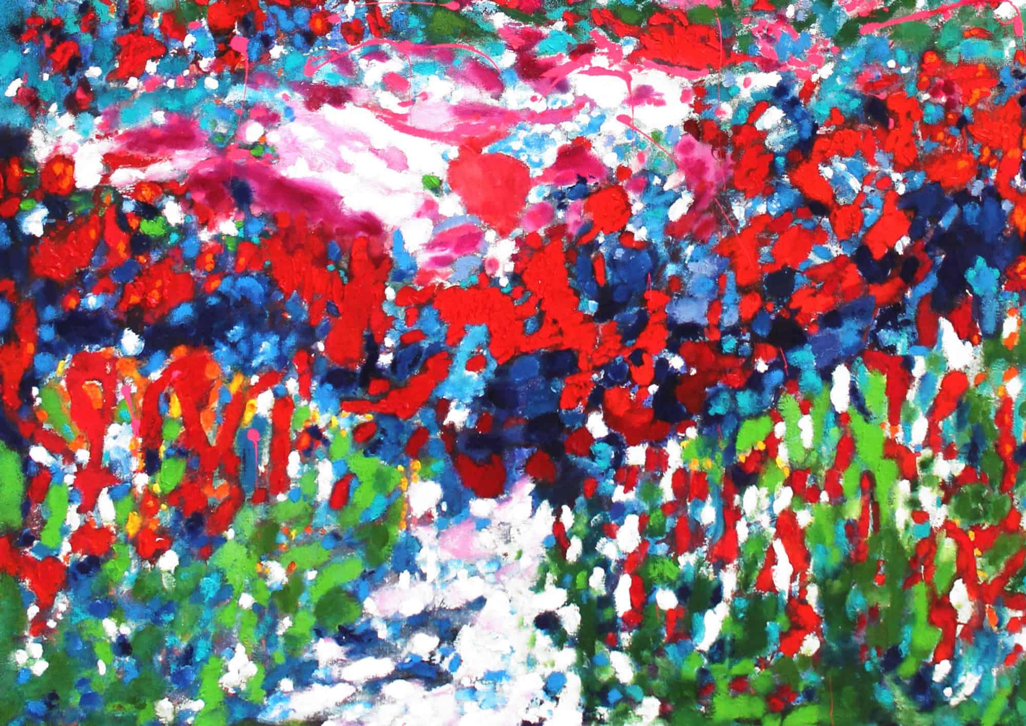 Acryl Gemälde abstrakter feuriger Himmel