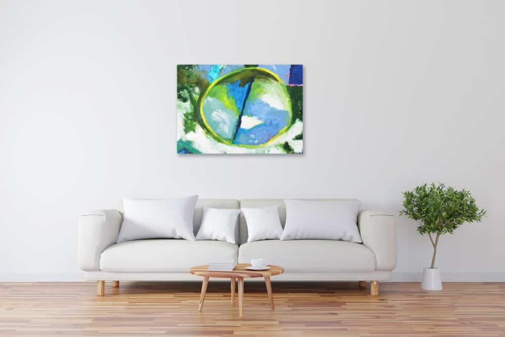Acryl Gemälde abstrakter gelber Kreis mit Grün bild kaufen