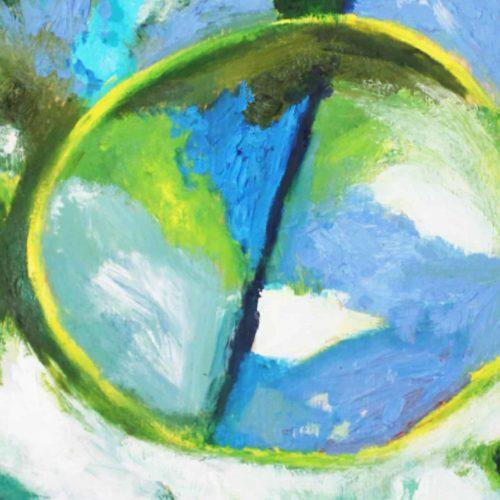 Acryl Gemälde abstrakter gelber Kreis mit Grün