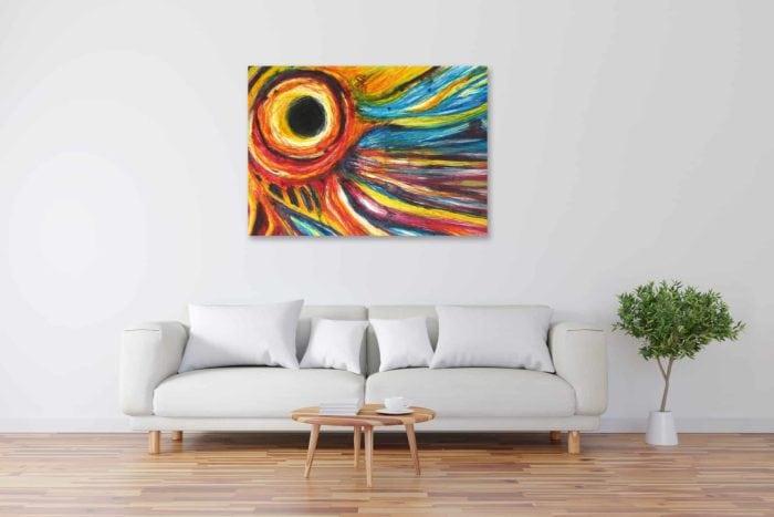Acryl Gemälde abstrakter Himmel mit Sonnenfinsternis bild kaufen