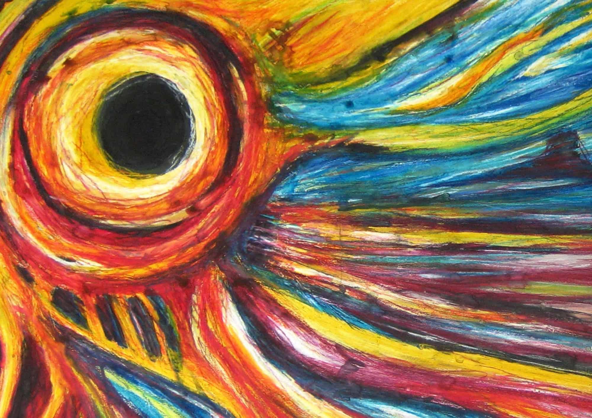 Acryl Gemälde abstrakter Himmel mit Sonnenfinsternis