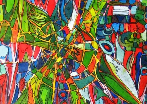 Acryl Gemälde abstrakter Stern am Himmel expressiv
