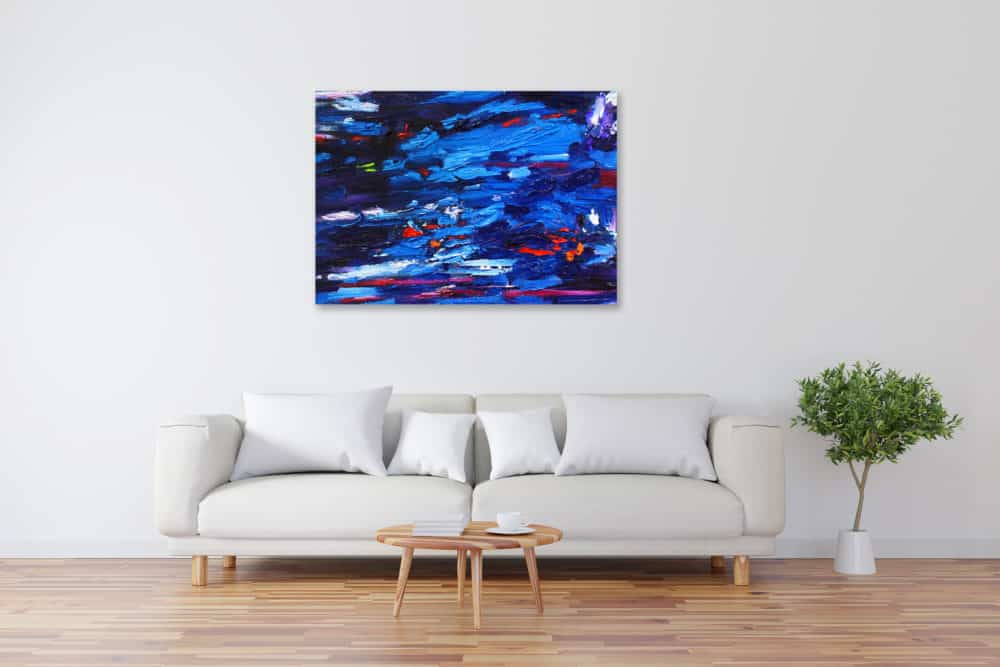 Acryl Gemälde abstraktes Blau im Wasser bild kaufen
