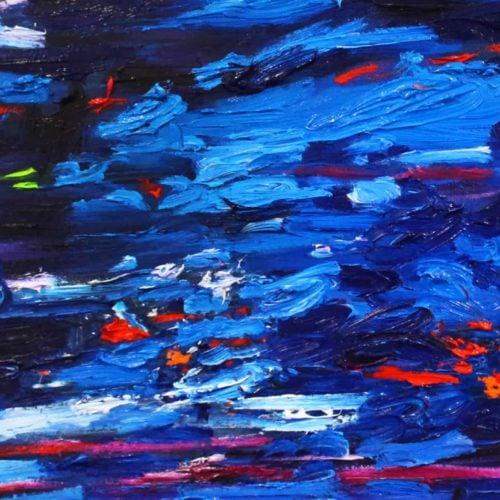Acryl Gemälde abstraktes Blau im Wasser