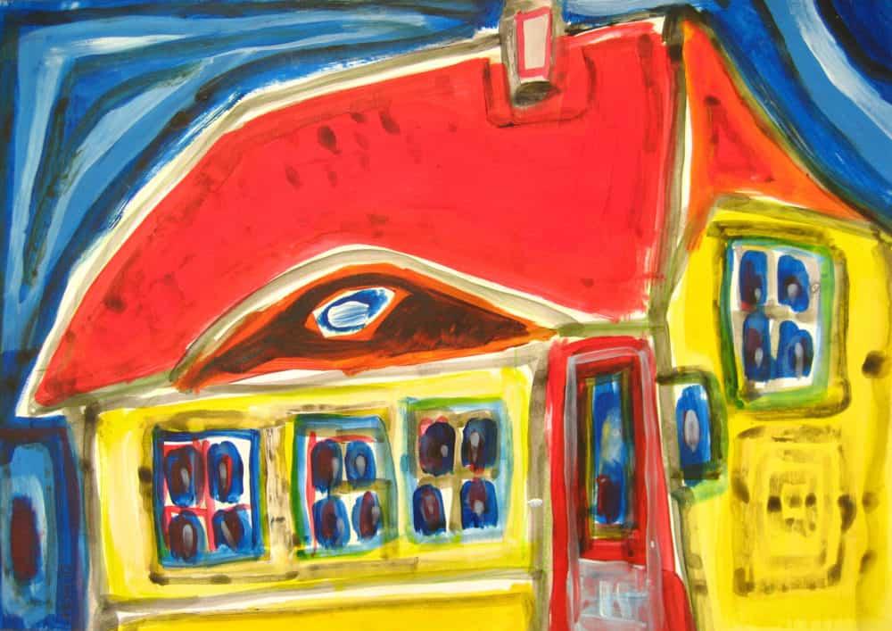 Acryl Gemälde abstraktes Haus in Gelb