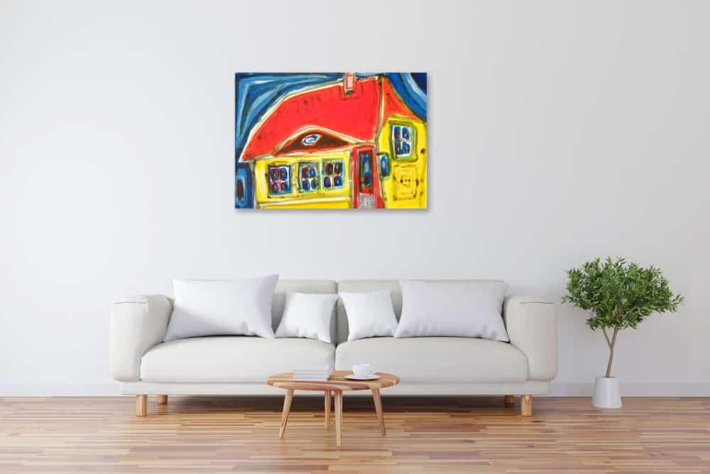 Acryl Gemälde abstraktes Haus in Gelbbild kaufen
