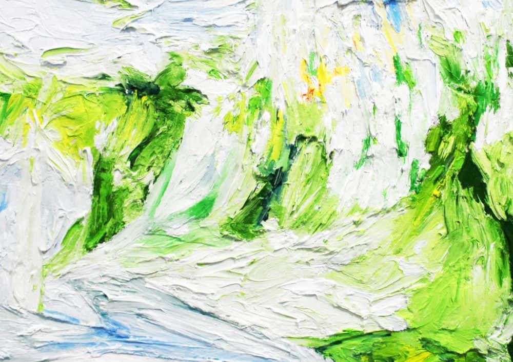 Acryl Gemälde abstraktes helles Grün mit Weiß