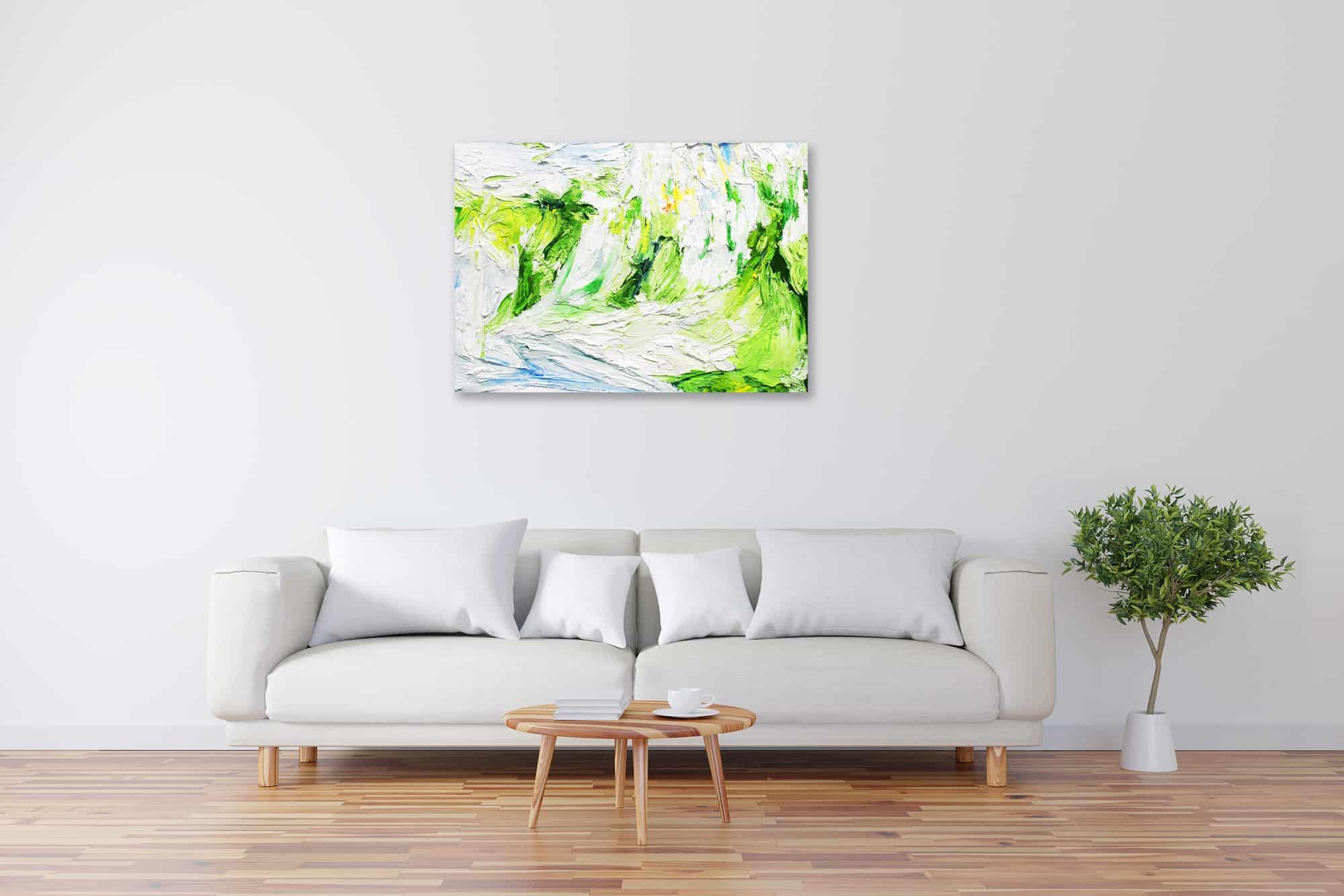 Acryl Gemälde abstraktes helles Grün mit Weiß bild kaufen