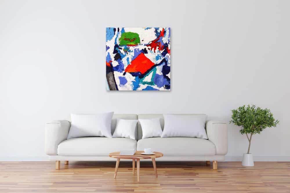 Acryl Gemälde abstraktes Rot mit Blau bild kaufen