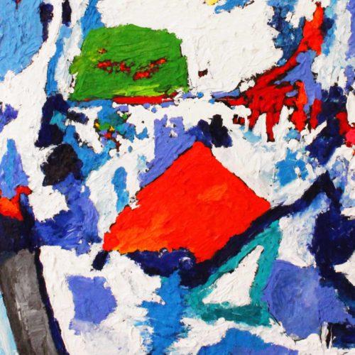 Acryl Gemälde abstraktes Rot mit Blau