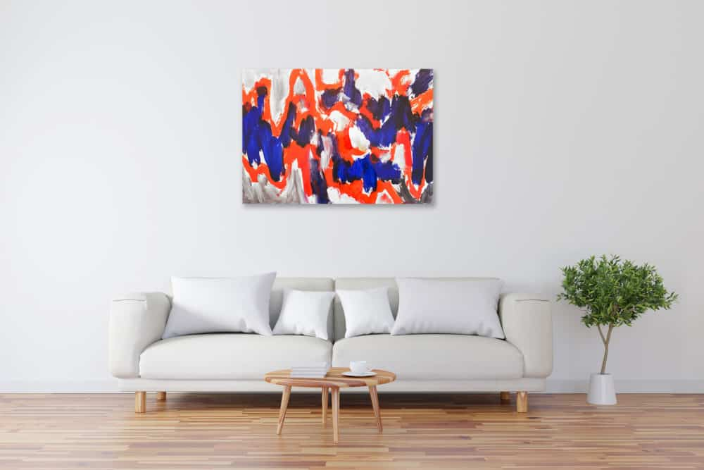 Acryl Gemälde Rot blaue Abstraktion bild kaufen
