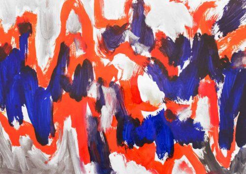 Acryl Gemälde Rot blaue Abstraktion