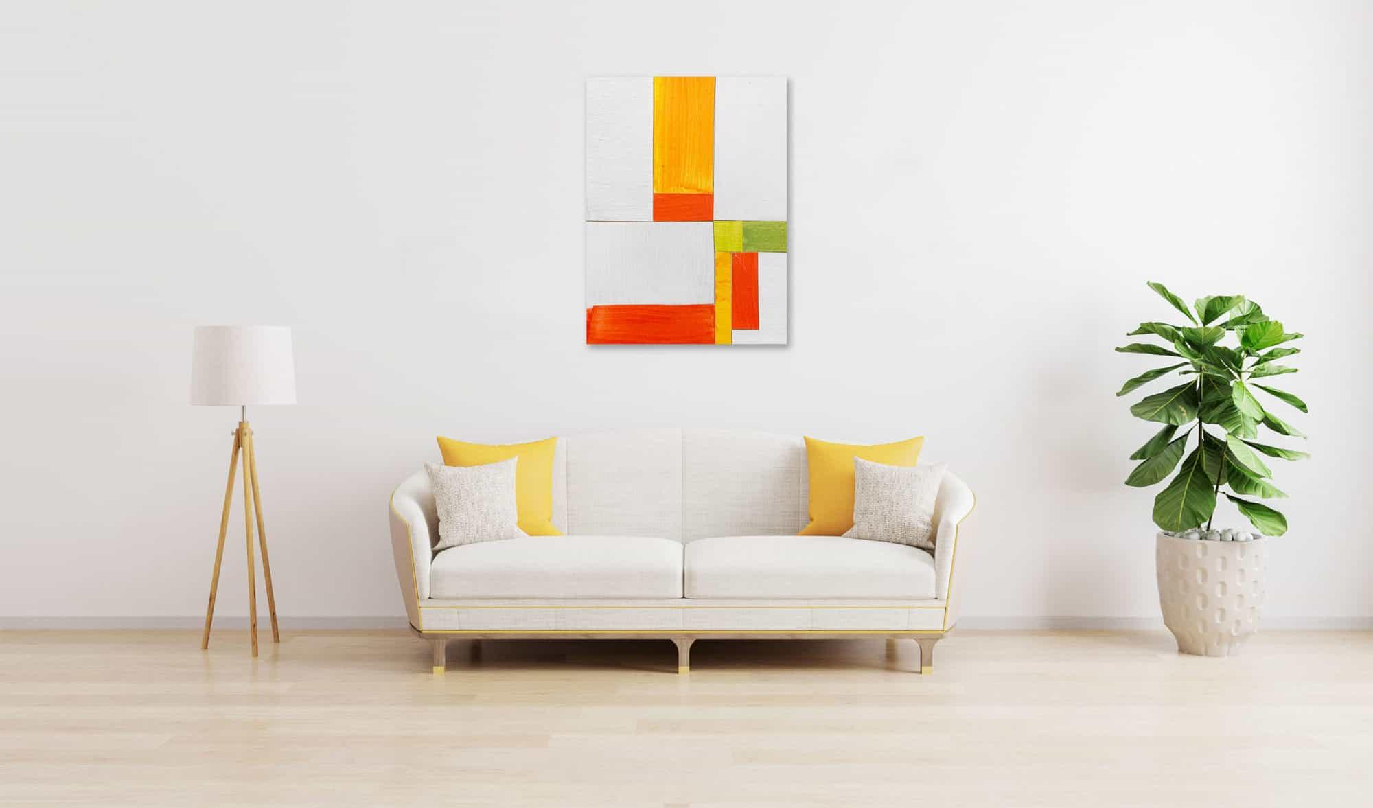 Acrylbild geordnetes Orange wandbild