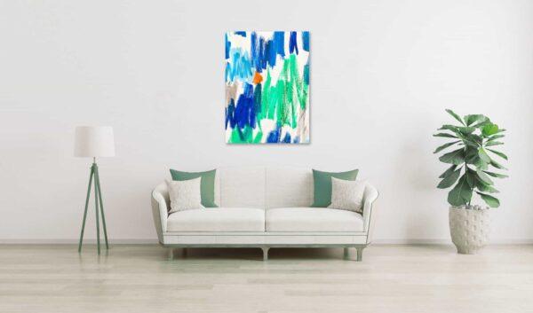 Ölgemälde auf Leinwand Abstrakt Grün Blau mit Orange wandbild