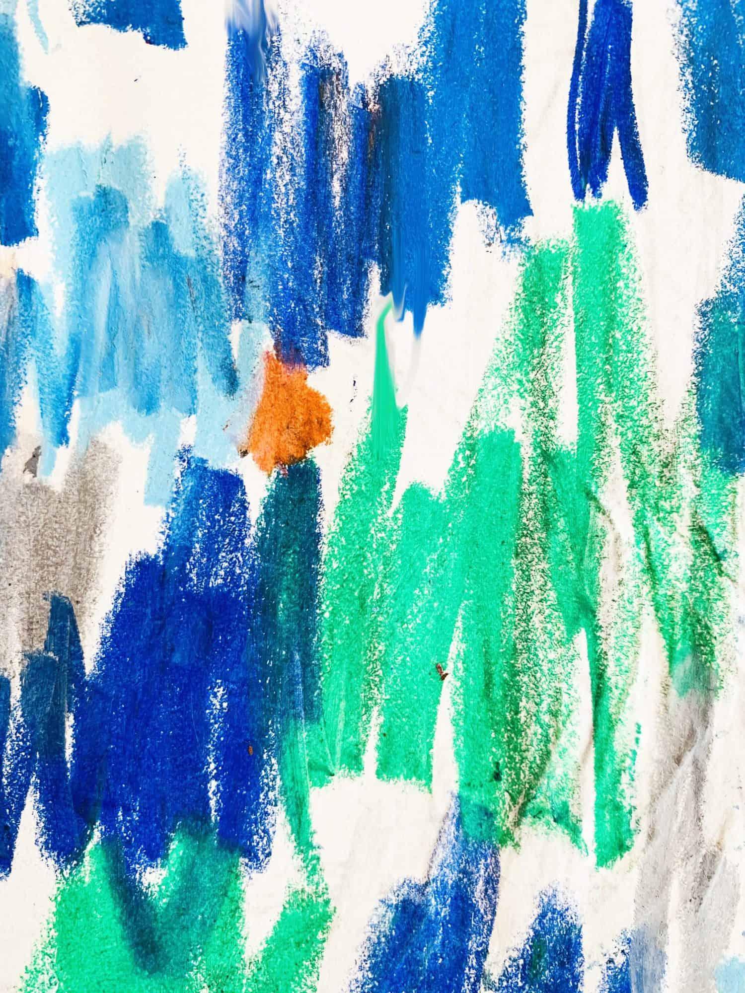 Ölgemälde auf Leinwand Abstrakt Grün Blau mit Orange