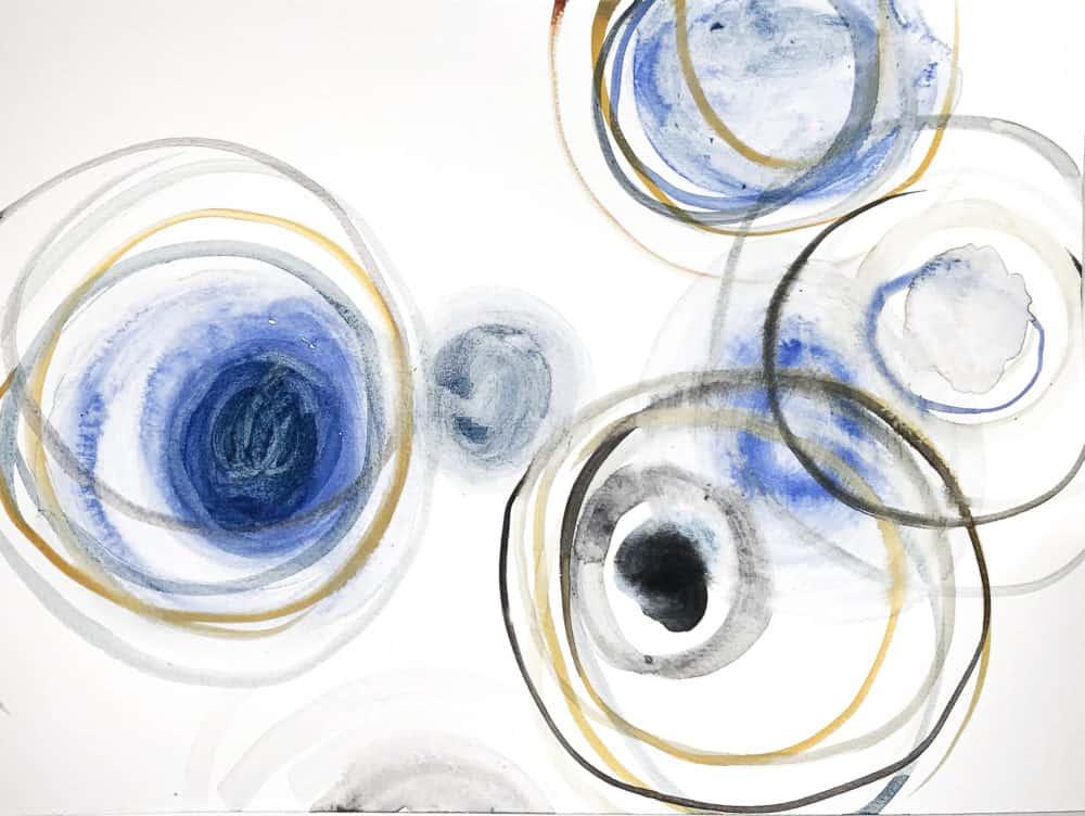 Ölgemälde auf Leinwand Leichtigkeit Kreise Blau Ocker