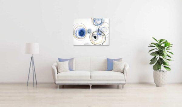 Ölgemälde auf Leinwand Leichtigkeit Kreise Blau Ocker wandbild