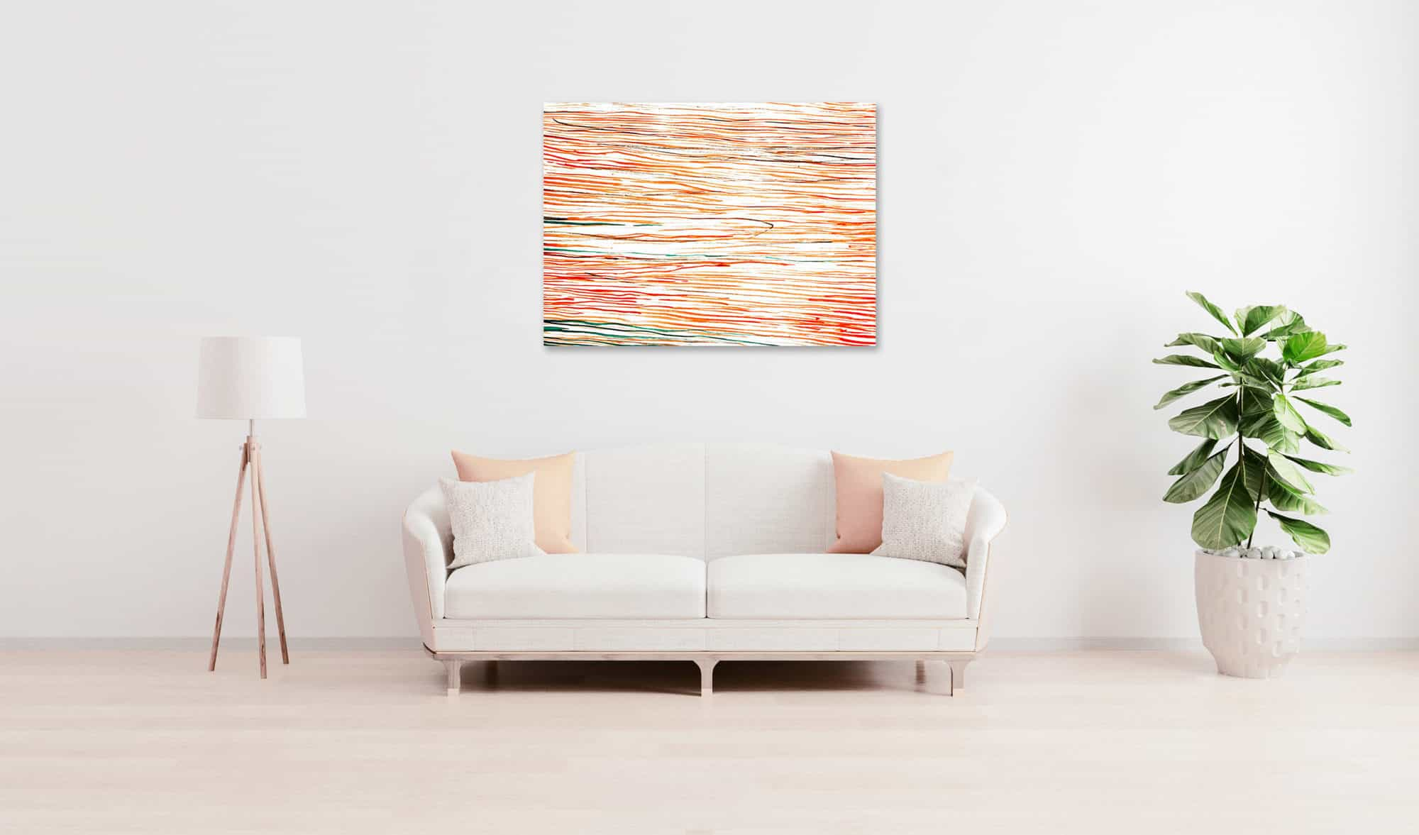 Ölgemälde auf Leinwand Rot Orange Linien wandbild