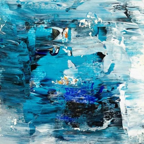 Ölgemälde auf Leinwand abstrakte Landschaft Blau Türkis