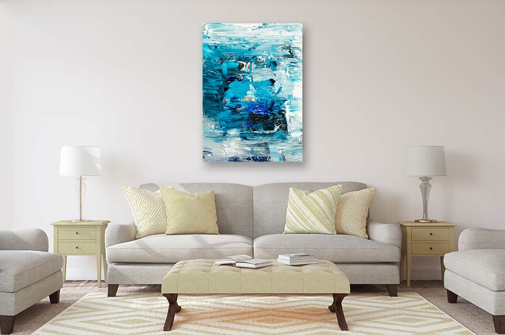 Ölgemälde auf Leinwand abstrakte Landschaft Blau Türkis wandbild