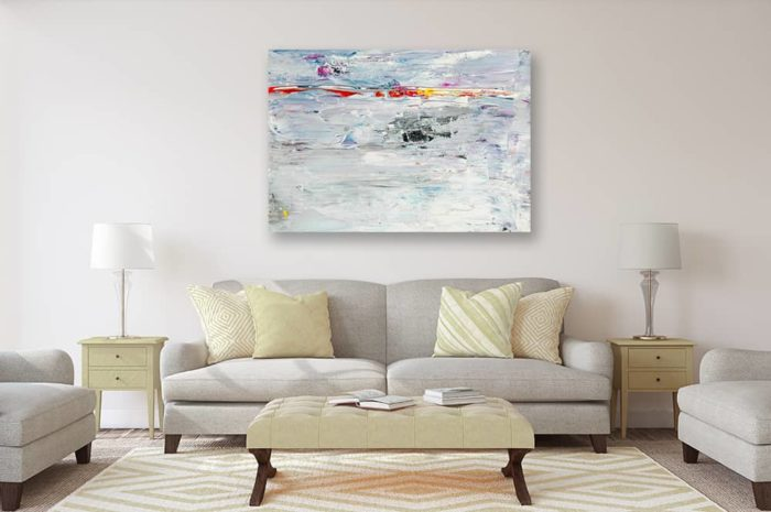 Ölgemälde auf Leinwand abstrakte Landschaft mit Rot wandbild