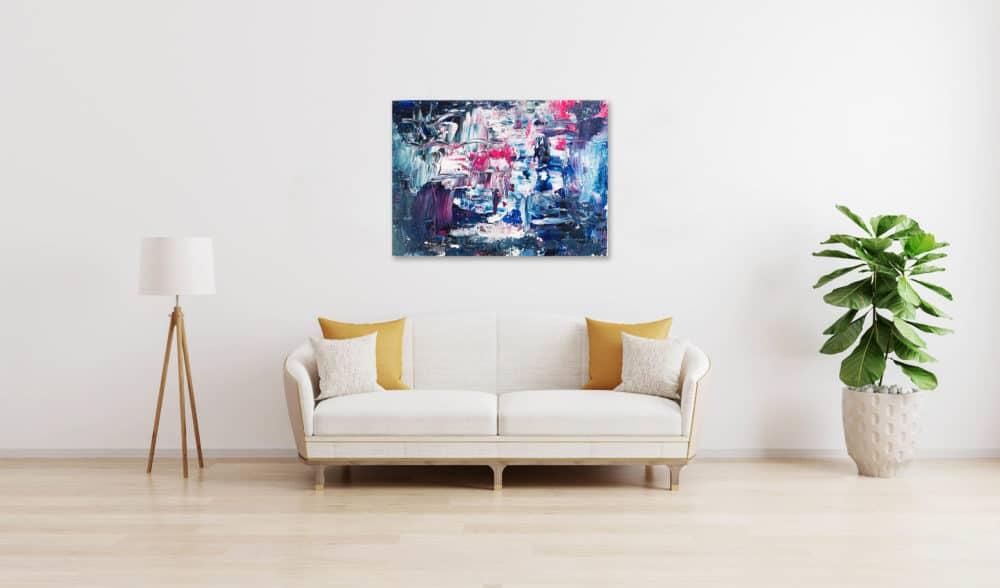Ölgemälde auf Leinwand abstraktes Blau wandbild