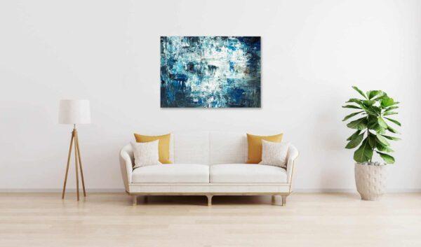 Ölgemälde auf Leinwand abstraktes Grau Blau wandbild