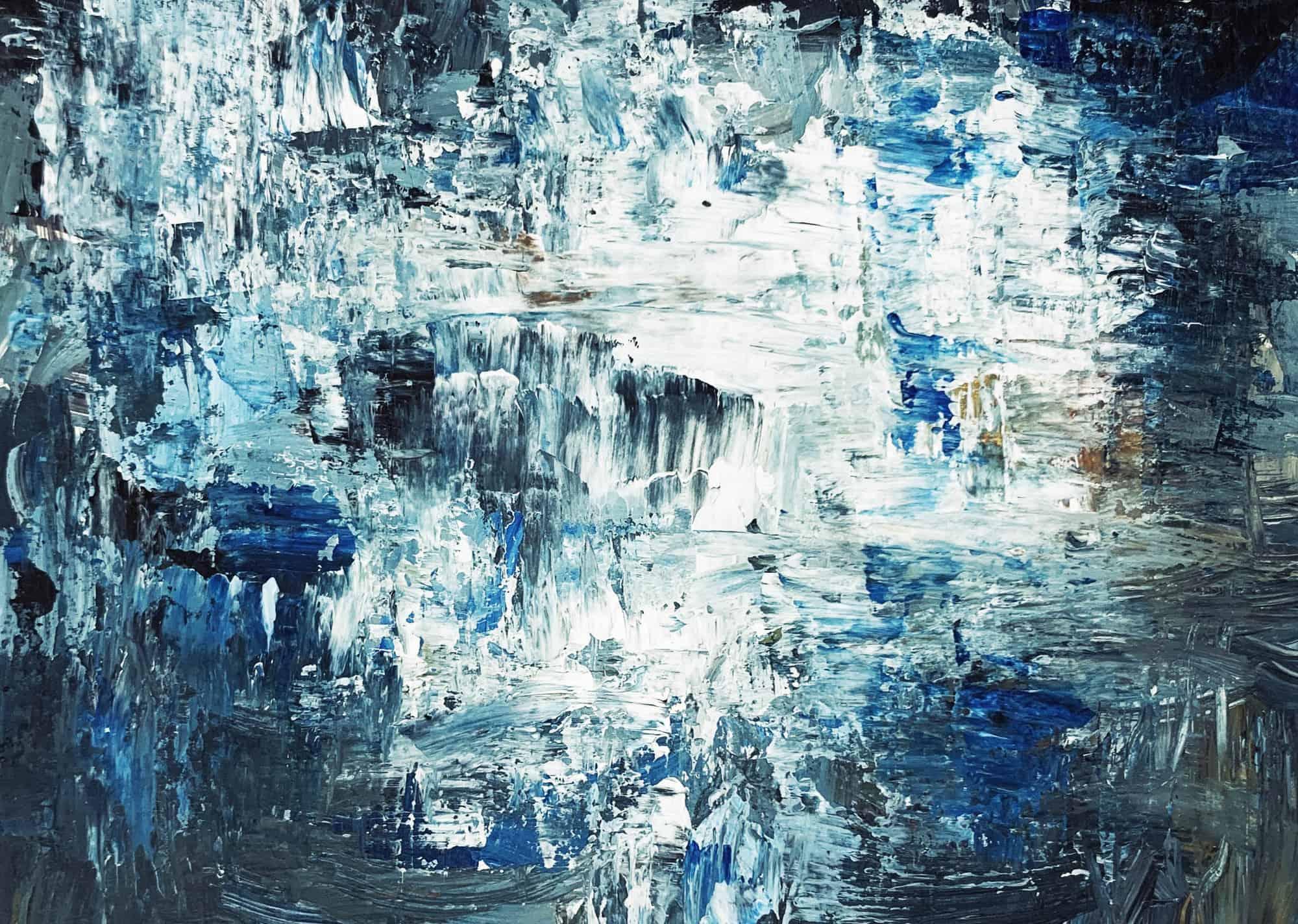 Ölgemälde auf Leinwand abstraktes Grau Blau