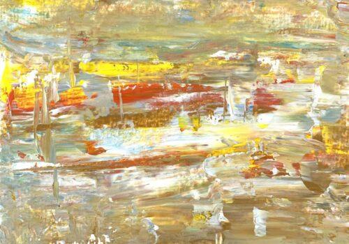 Ölgemälde auf Leinwand abstraktes Ocker und Gelb