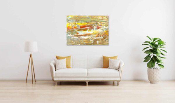 Ölgemälde auf Leinwand abstraktes Ocker und Gelb wandbild