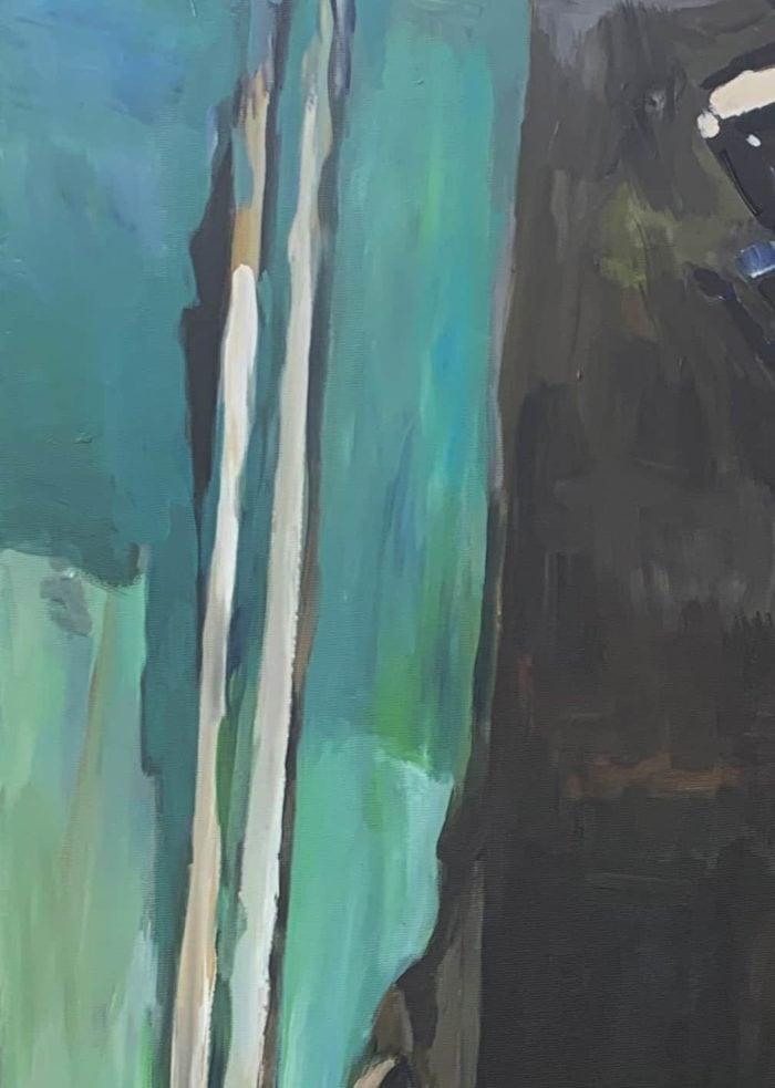 Ölgemälde auf Leinwand blau braune Abstraktion