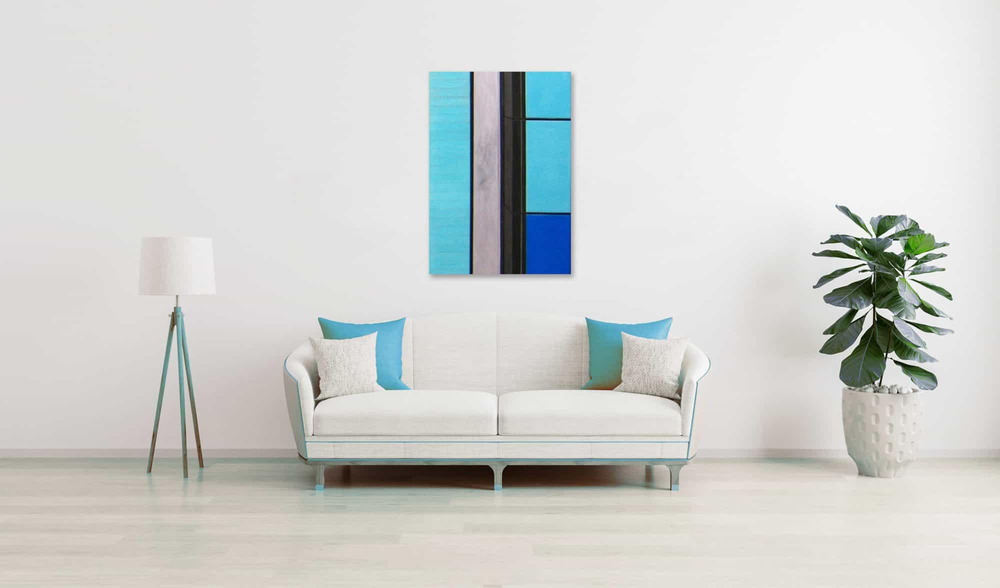 Ölgemälde auf Leinwand blau braune Flächen wandbild