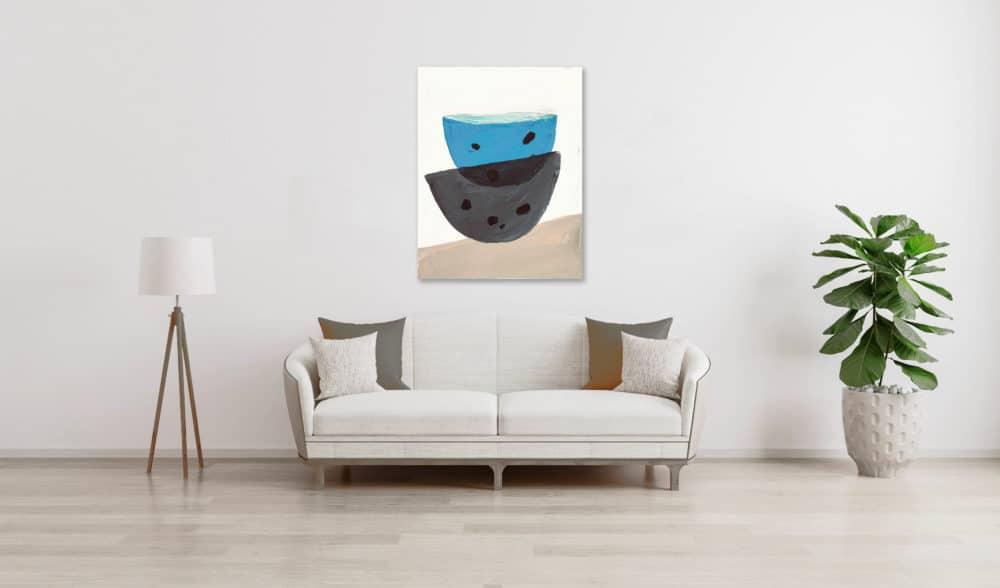 Ölgemälde auf Leinwand blau graue Schüsseln wandbild