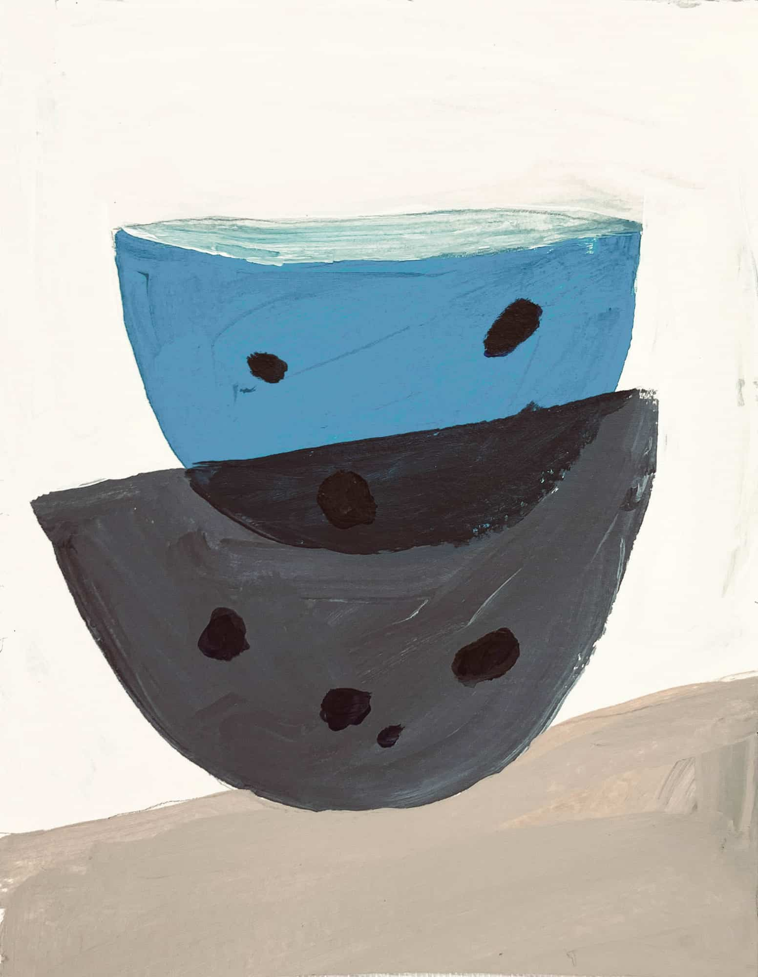 Ölgemälde auf Leinwand blau graue Schüsseln