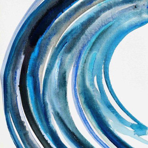 ölgemälde auf leinwand blaue runde form