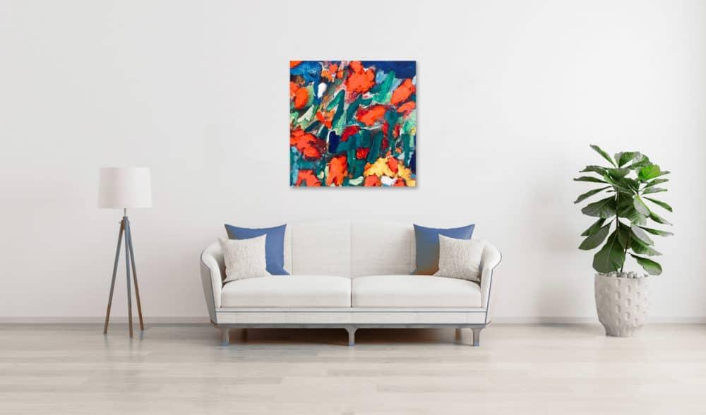 Ölgemälde auf Leinwand expressive Blüten wandbild