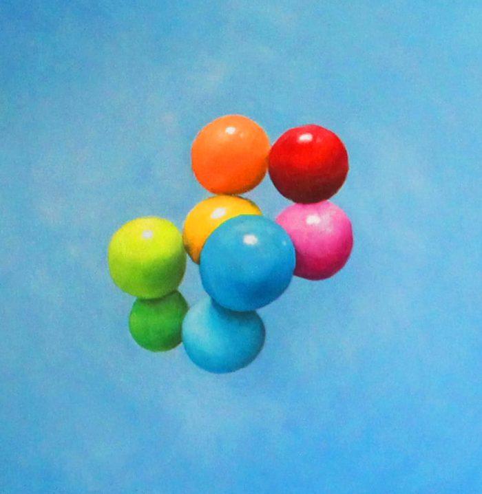 Ölgemälde auf Leinwand farbige Kugeln