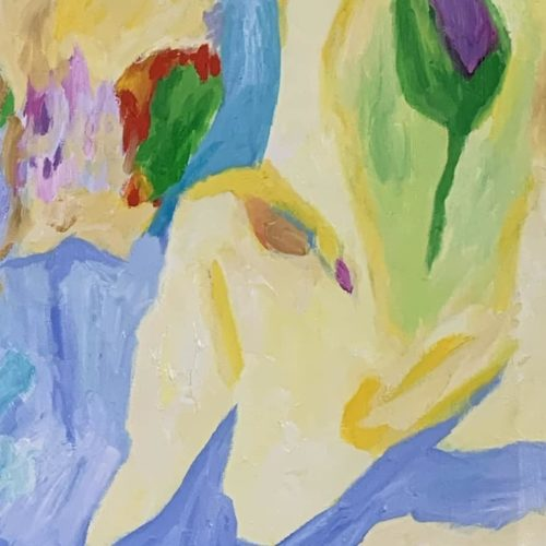 Ölgemälde auf Leinwand fließende Abstraktion mit Blume