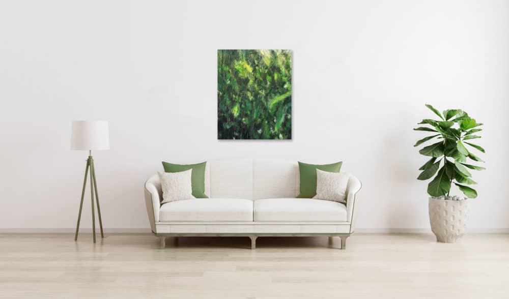 Ölgemälde auf Leinwand grüne Pflanzen Struktur wandbild