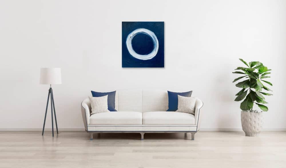 Ölgemälde auf Leinwand heller Kreis auf Blau wandbild