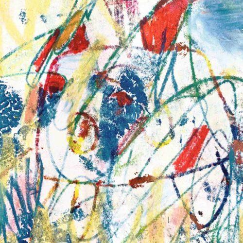 Ölgemälde auf Leinwand Linien und Spuren mit Rot und Grün
