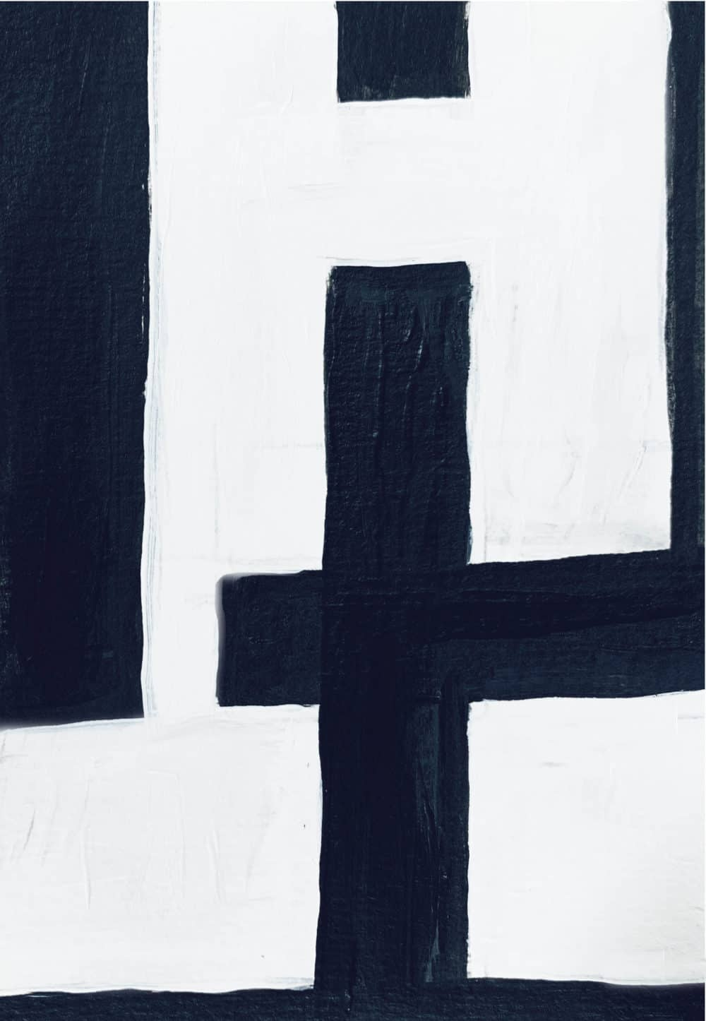 Ölgemälde auf Leinwand minimalistisch Schwarz Weiß