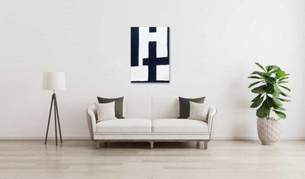 Ölgemälde auf Leinwand minimalistisch Schwarz Weiß wandbild
