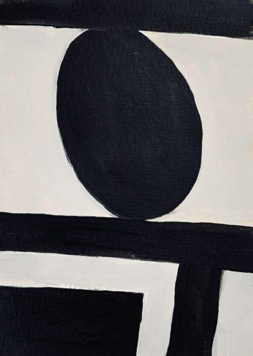 Ölgemälde auf Leinwand minimalistische Form Schwarz und Weiß