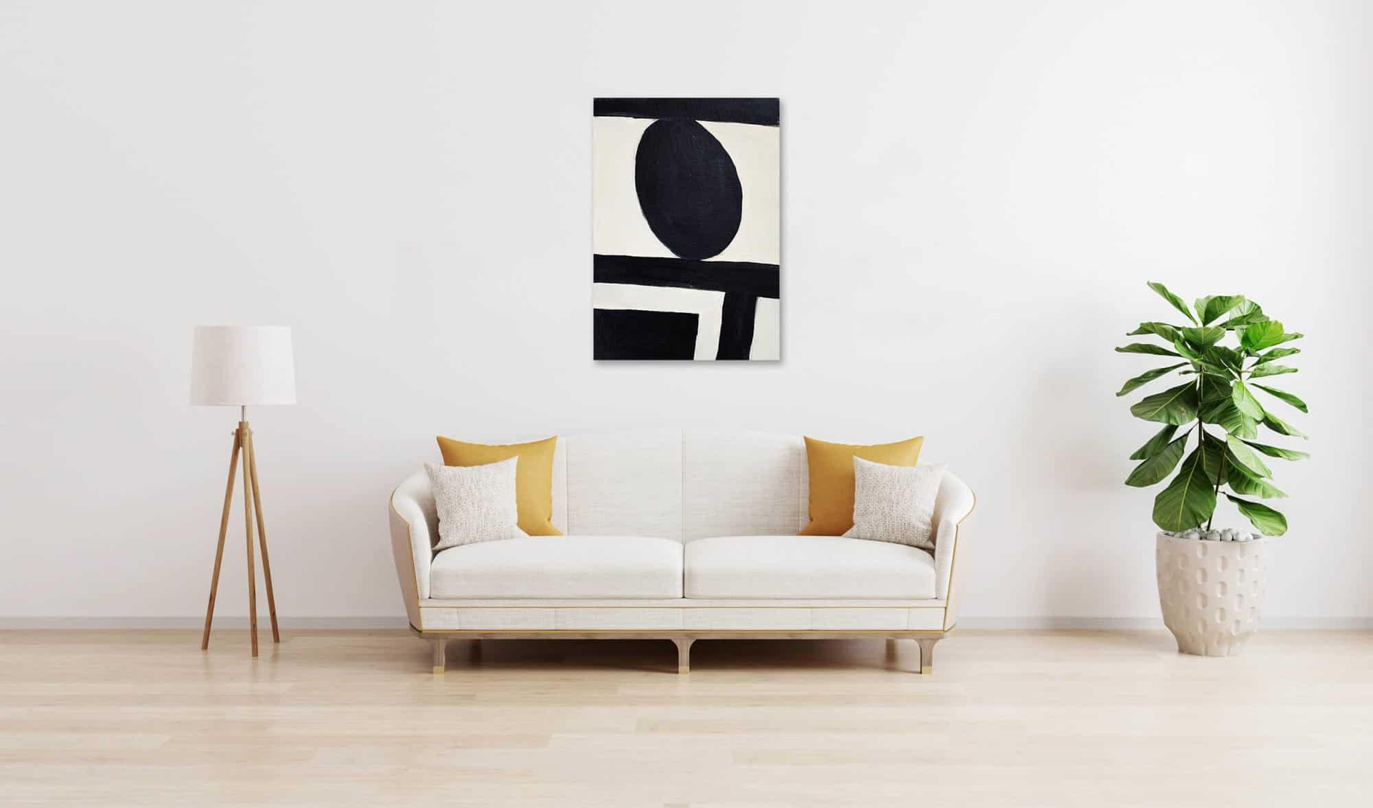 Ölgemälde auf Leinwand minimalistische Form Schwarz und Weiß wandbild